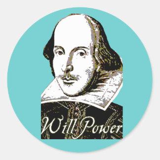 Camiseta de la fuerza de voluntad de William Pegatina Redonda