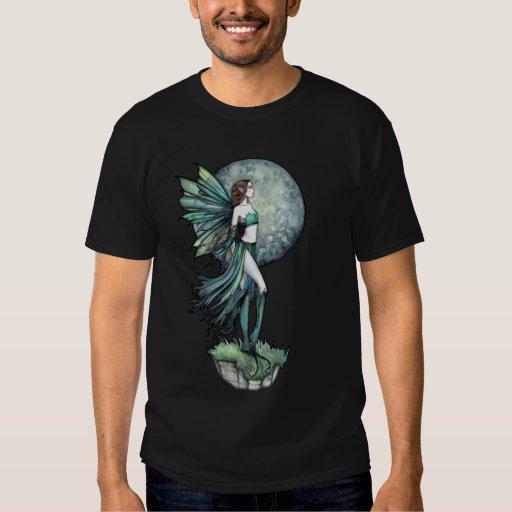 Camiseta de la hada verde gótica y de la Luna Playera
