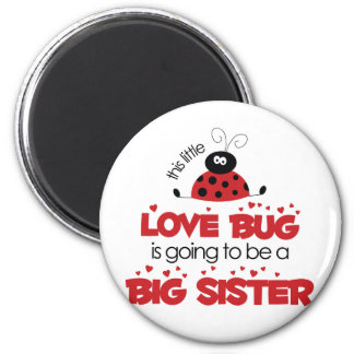 Camiseta de la hermana grande del insecto del amor imán redondo 5 cm