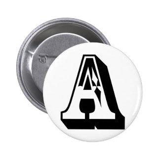 """Camiseta de la letra del alfabeto de """"A"""" Pin Redondo De 2 Pulgadas"""