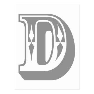 """Camiseta de la letra del alfabeto de """"D"""" Tarjeta Postal"""