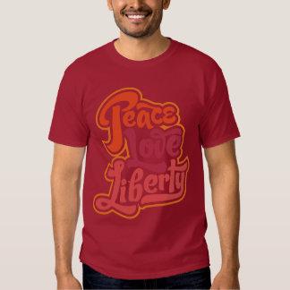 Camiseta de la libertad del amor de la paz playera