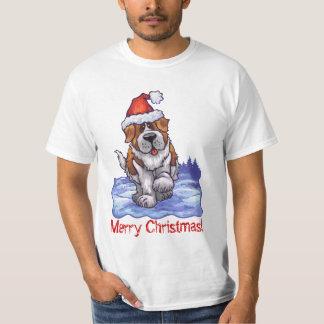 Camiseta de la luz de St Bernard del navidad Playera