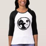 Camiseta de la manga de raglán de los gatos de Yin Playera