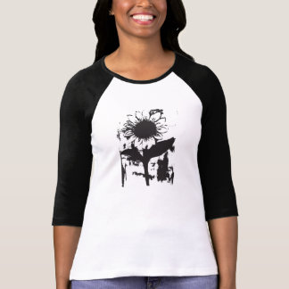Camiseta de la manga de raglán del girasol polera