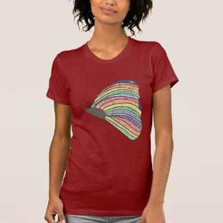 Camiseta de la mariposa del mosaico del arco iris