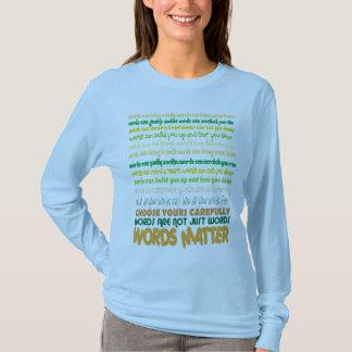 Camiseta de la materia de las palabras