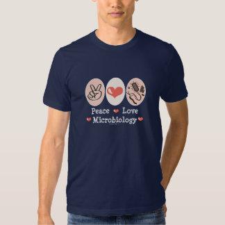 Camiseta de la microbiología del amor de la paz playera
