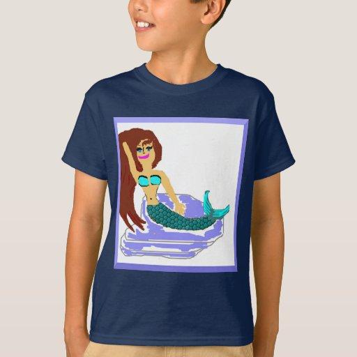 Camiseta de la moda de la sirena de los niños