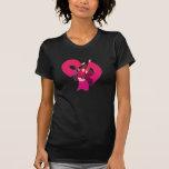 Camiseta de la muñeca del arte pop del rosa del ba