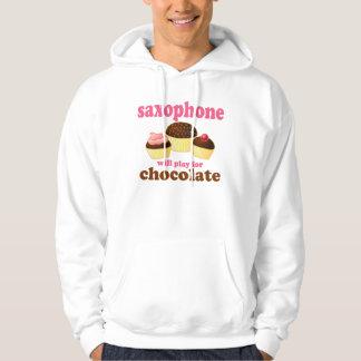 Camiseta de la música del saxofón pulóver con capucha