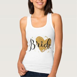 Camiseta de la novia con el corazón del oro playeras