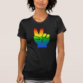 Camiseta de la oscuridad de la paz del orgullo gay