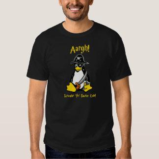 Camiseta de la oscuridad del pirata de Linux Tux Playeras