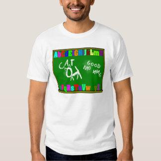 Camiseta de la pizarra del alfabeto de los niños remera