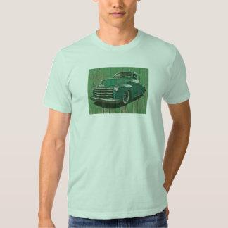 Camiseta de la posguerra verde ilustrada de la remera