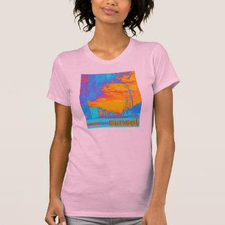 Camiseta de la puesta del sol de las señoras