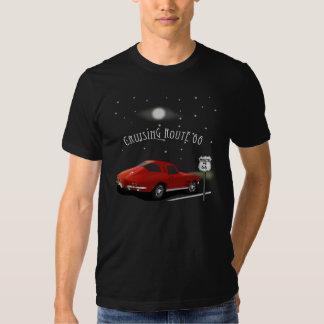 Camiseta de la ruta 66 del coche que cruza clásico playera