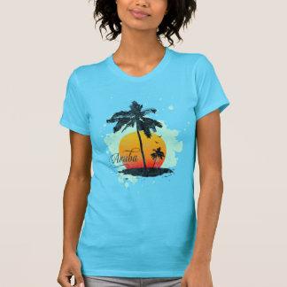 Camiseta de la silueta de la palmera de Aruba Playera