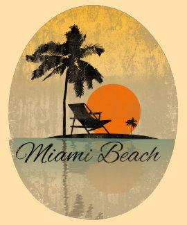 Camiseta de la silueta de la palmera de Miami Beac