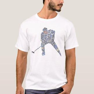Camiseta de la tipografía del jugador de hockey,