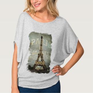 Camiseta de la torre Eiffel de París del vintage Playera