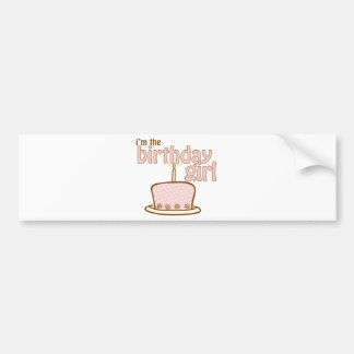 Camiseta de la torta del chica del cumpleaños pegatina de parachoque