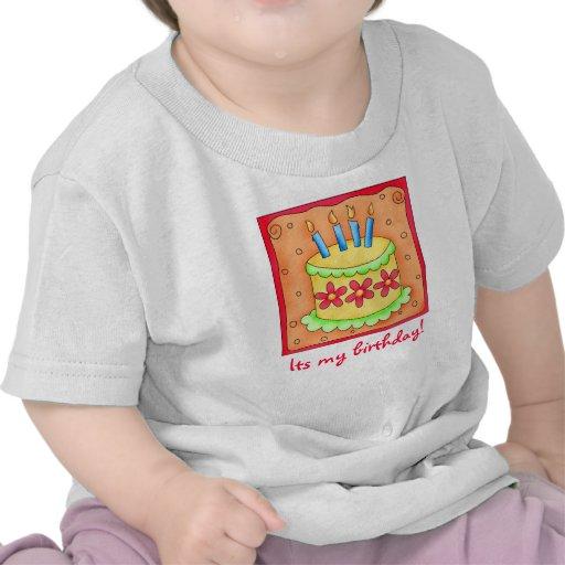 Camiseta de la torta del cumpleaños del niño