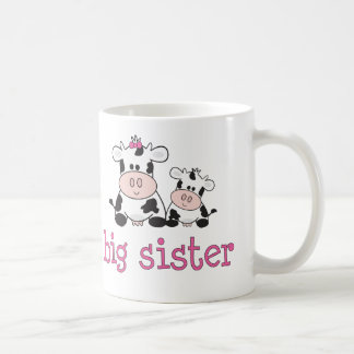 Camiseta de la vaca de la hermana grande taza básica blanca