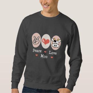 Camiseta de la vaca del MOO del amor de la paz Sudadera