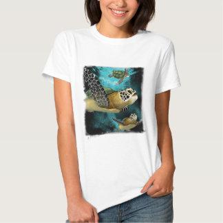 Camiseta de la vida marina de la tortuga de mar polera