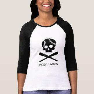 Camiseta de la viuda del béisbol - negro en blanco