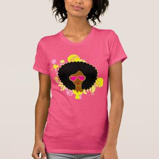 Camiseta de las gafas de sol del rosa del pelo del