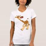 Camiseta de las mujeres de la jirafa del dibujo playeras