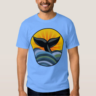 Camiseta de las olas oceánicas de la cola de la poleras