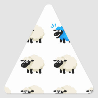 Camiseta de las ovejas - Feliz-yo Pegatina Triangular
