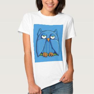 Camiseta de las señoras de la aguamarina del búho playeras