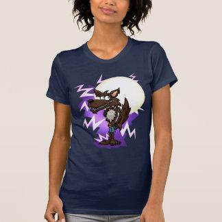 Camiseta de las señoras de la luna del lobo del