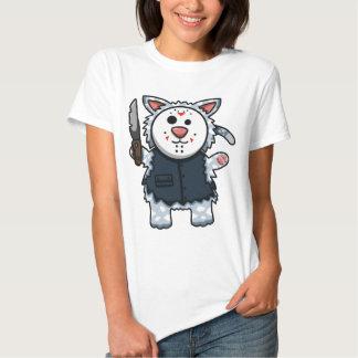 Camiseta de las señoras de Slasher del gatito del Playeras