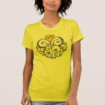 Camiseta de las señoras del amarillo del adorno de