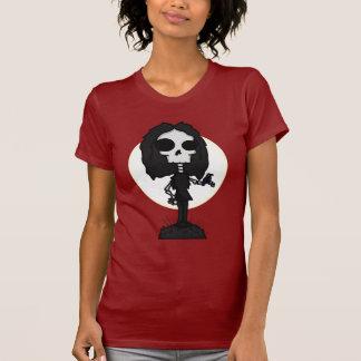 Camiseta de las señoras del esqueleto y del cuervo playera