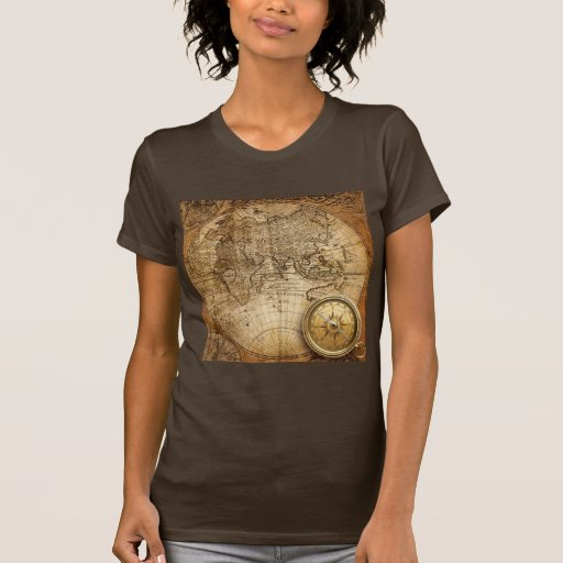 Camiseta de las señoras del mapa de Viejo Mundo Playera