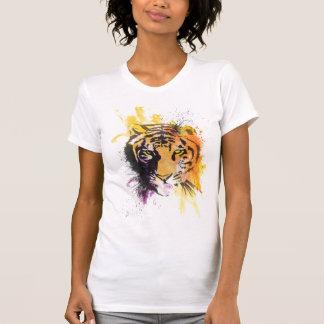 Camiseta de las señoras del tigre de la pintada playera