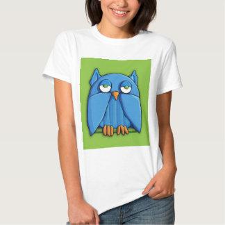 Camiseta de las señoras del verde del búho de la playeras