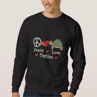 Camiseta de las tortugas del amor de la paz sudadera con capucha