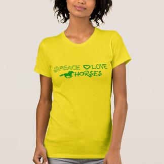 Camiseta de los caballos del amor de la paz