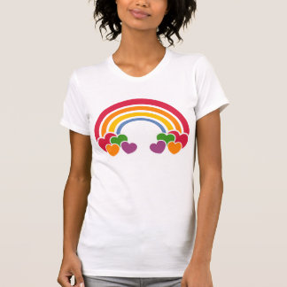 camiseta de los corazones de n del arco iris de lo playeras