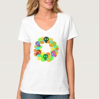 Camiseta de los cráneos de la guirnalda de Dia De Remeras