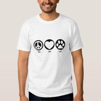 Camiseta de los gatos del amor de la paz playeras
