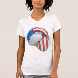 Camiseta de los guantes de boxeo de la bandera ame